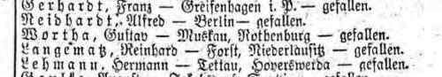Gustav Wortha Liste Preußen 593 vom 29.07.1916