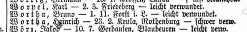 Heinrich Wortha Liste Preußen 940 vom 18.09.1917