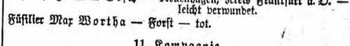 Max Wortha Liste vom September 1914
