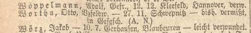 Otto Wortha Liste Preußen vom 07.05.1918