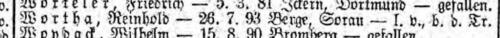 Reinhold Wortha Liste Preußen vom 05.06.1917